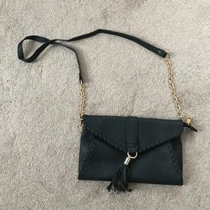 Black Fold over Purse with Tassel